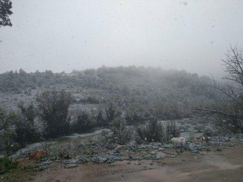neige sur Durban-Corbières, mars 2020