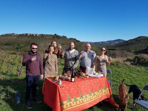 Domaine Cirrus, décembre 2019 - repas de Noël dans les vignes, en famille